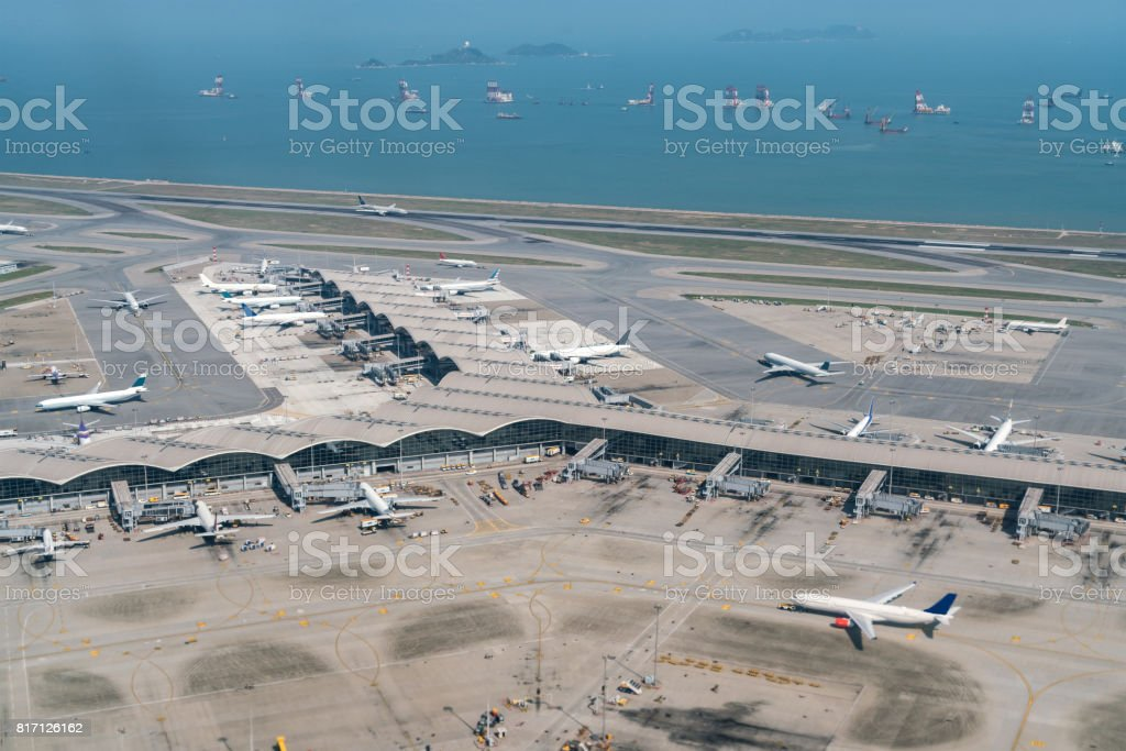 Hong Kong international airport with airplane parking stock photo