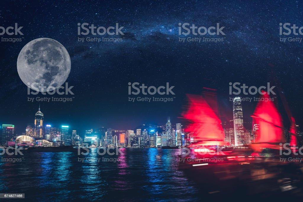 Hong Kong Island and Big Moon stock photo