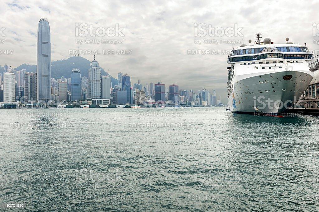 Hong Kong Island and Cruise Ship in Kowloon, China stock photo
