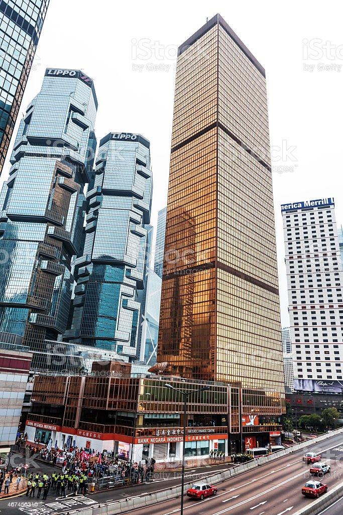 Hong Kong Island Centre, Protesters, Policemen, Skyscrapers, China stock photo