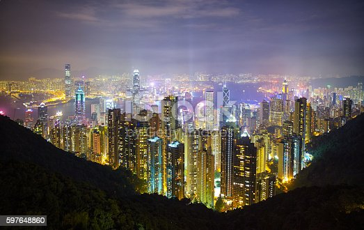 Evening descends upon Hong Kong, and this is the view of the skyscrapers of Hong Kong Island & Kowloon from the Peak.