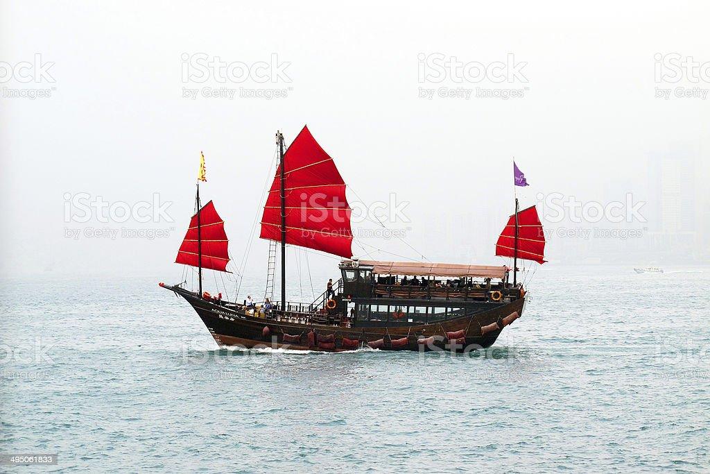 Hong Kong Junk Ship stock photo