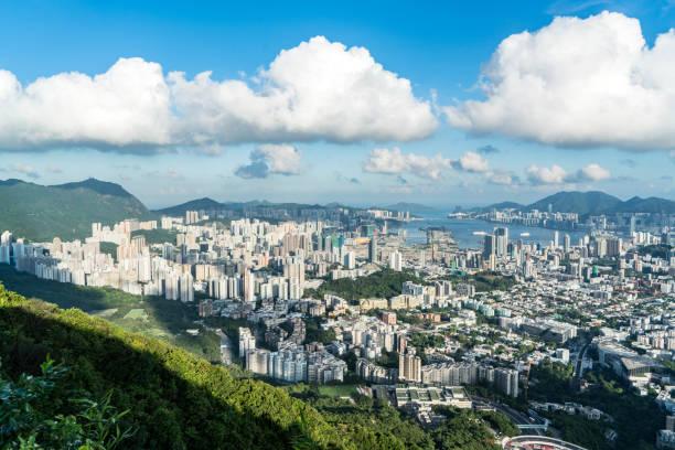 skyline von hong kong-kowloon - kowloon stock-fotos und bilder