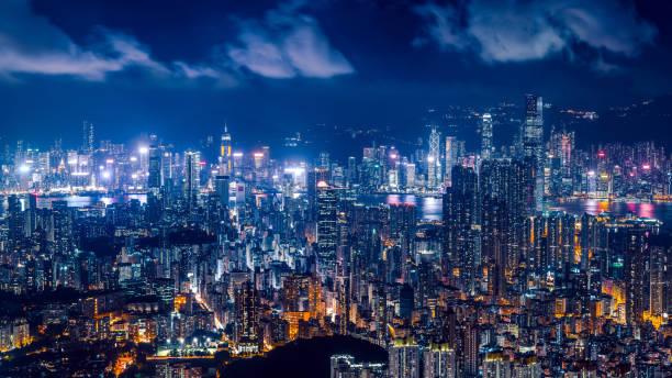 skyline der stadt hongkong in der stadt hongkong - kowloon stock-fotos und bilder