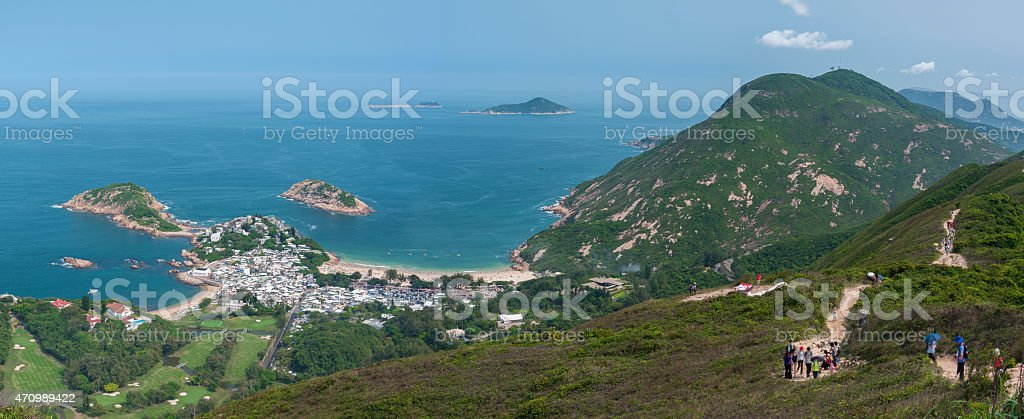 "Hong Kong landscape stunning landscape of Hong Kong. Viewed from ""Dragon's Back"" which has been voted the ""Best Urban Hiking Trail in Asia"" 2015 Stock Photo"