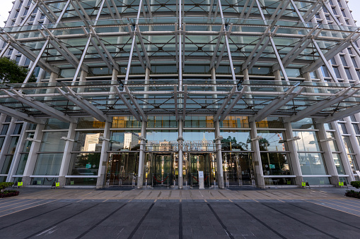 Hong Kong - August 20, 2021 : General view of the Hong Kong Monetary Authority in International Finance Centre, Finance Street, Central, Hong Kong. It is Hong Kong's central banking institution.