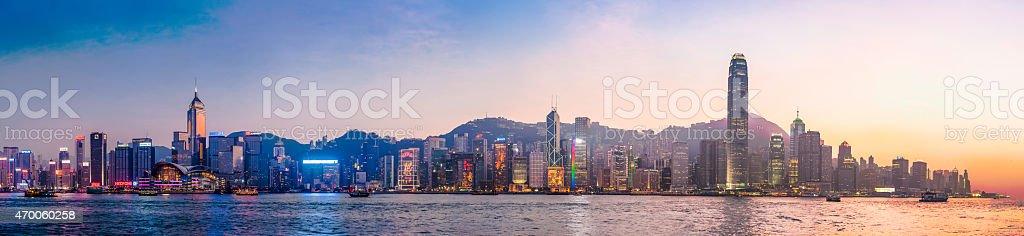 Hong Kong neon sunset iconic harbour skyscrapers illuminated panorama China stock photo