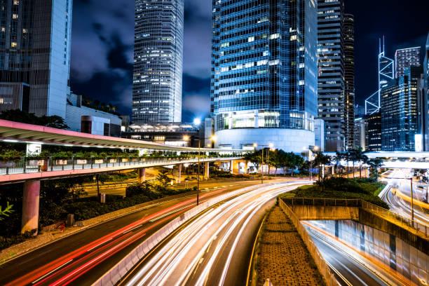hong kong night city - big tech foto e immagini stock