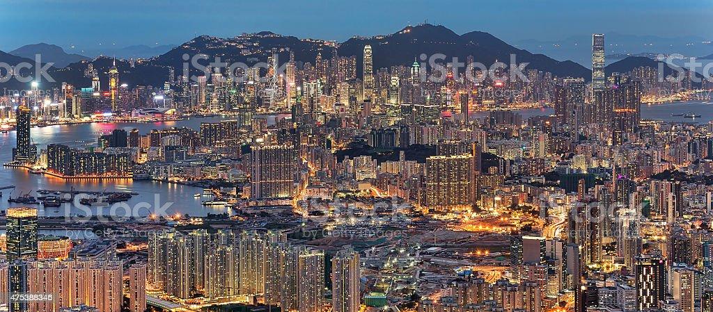 Hong Kong night cityscape stock photo