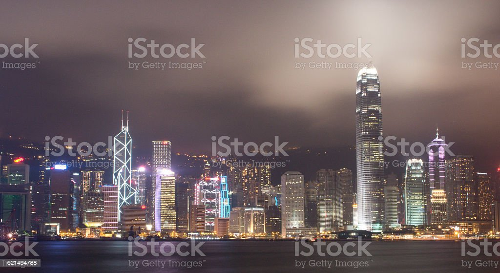 Hong Kong night light photo libre de droits