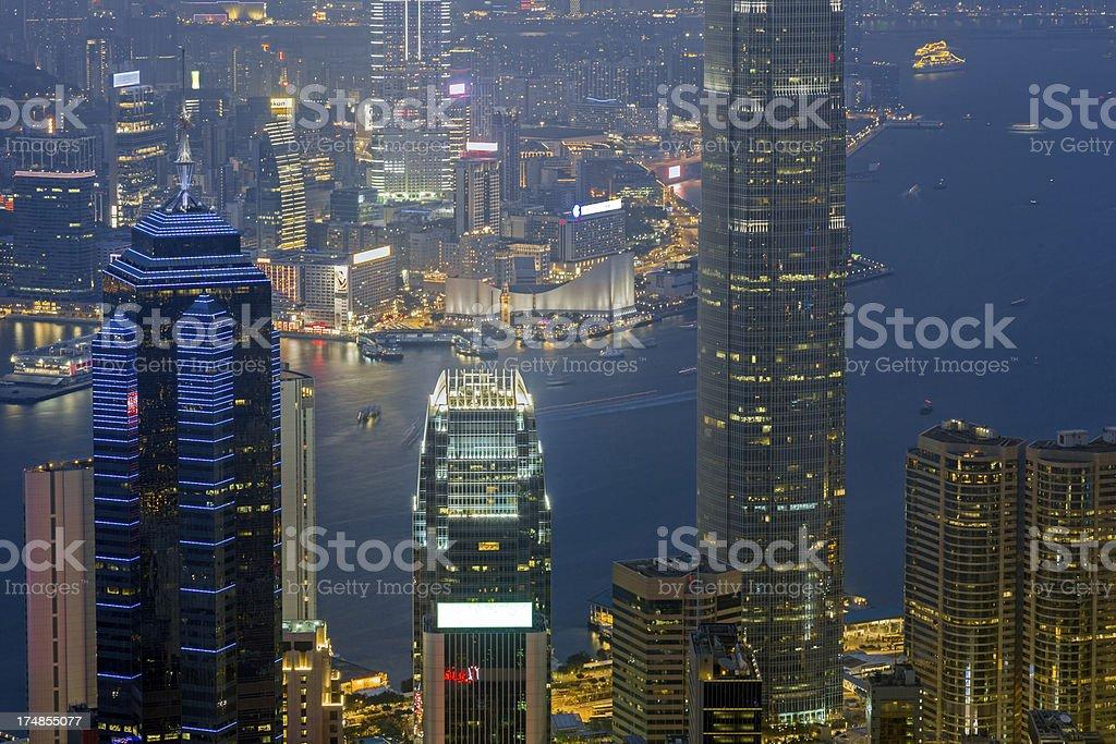 Hong Kong night scene close up royalty-free stock photo