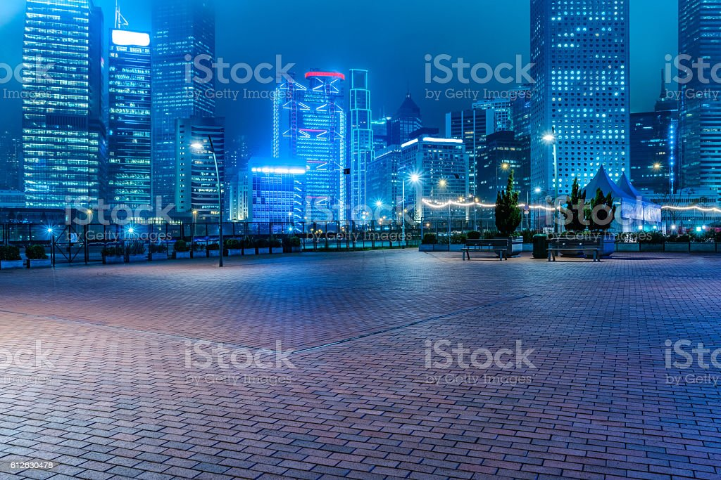 hong kong night scene stock photo