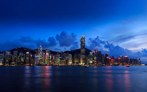 Hong Kong bei Nacht-Szene: Die am Victoria Harbour – Foto