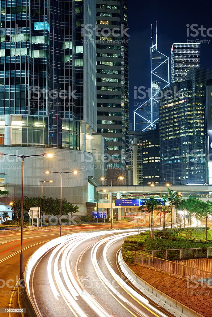 Hong Kong Night Traffic royalty-free stock photo