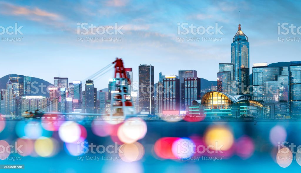 Hong Kong night view. stock photo