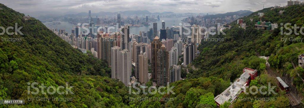 Hong Kong Panorama from Victoria Peak royalty free stockfoto