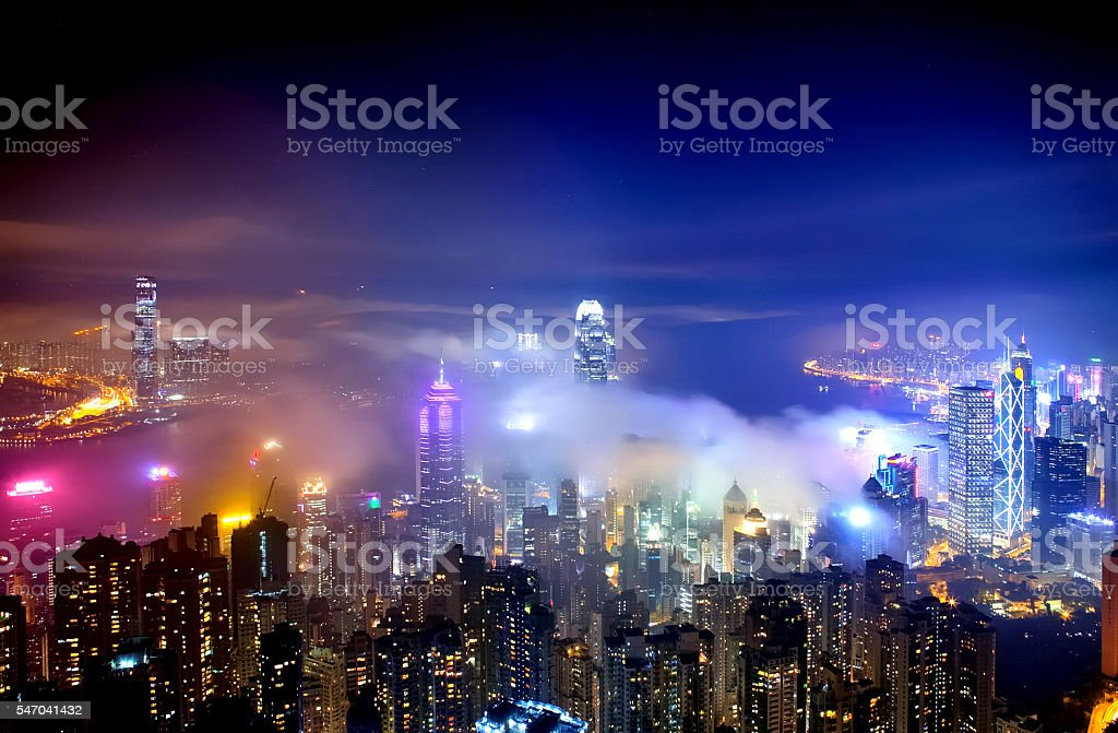 Hong Kong Panoramic Skyline at Night stock photo