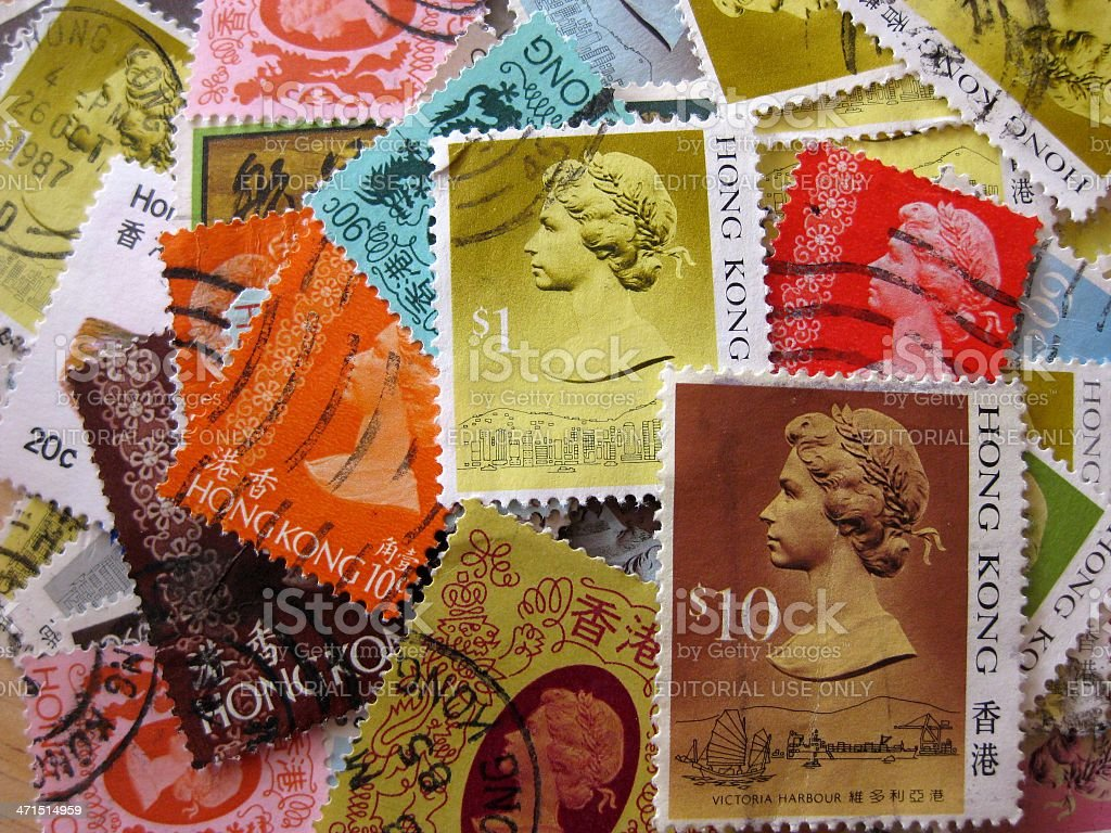 Hong Kong Postage Stamps: Queen Elizabeth II royalty-free stock photo