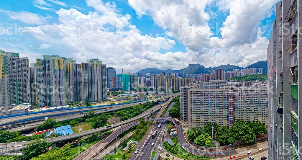 hong kong public estate buildings with landmark lion rock stock photo