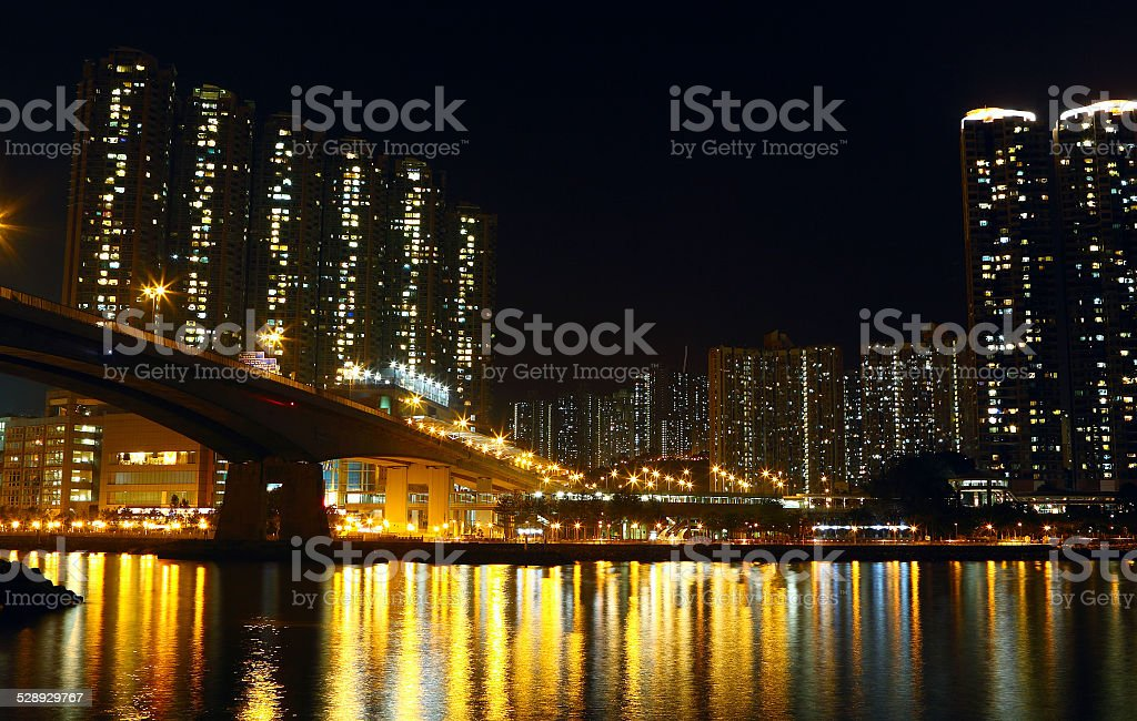 Hong Kong public housing and river stock photo