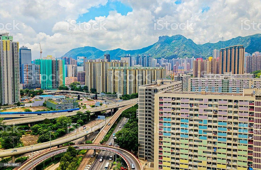 Hong Kong public housing apartment block stock photo