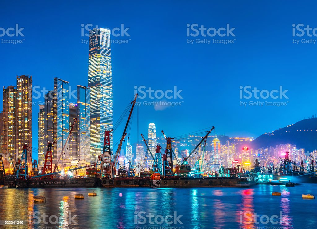 Hong Kong skyline and Container Cargo freight ship stock photo