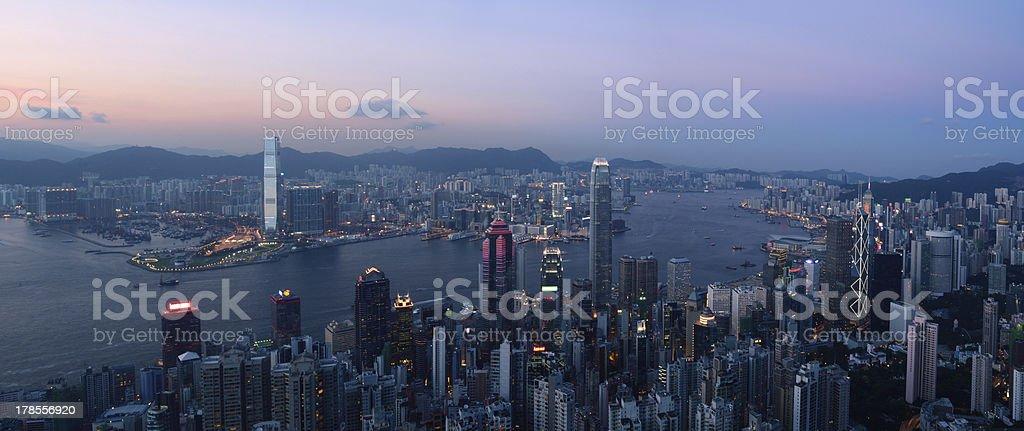Hong Kong Skyline and Victoria Harbor at night stock photo