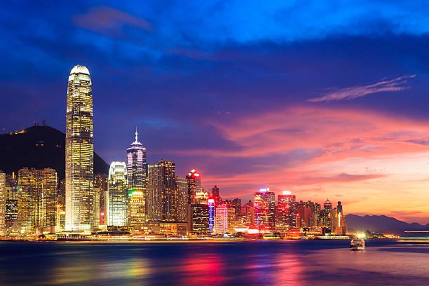 Hong Kong skyline bei Nacht, China – Foto