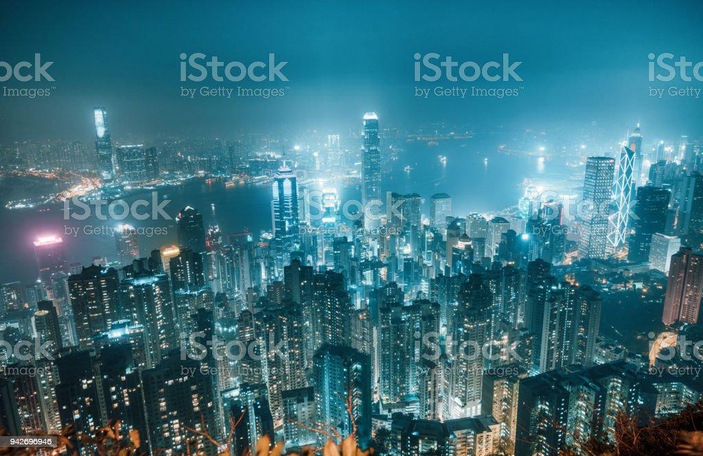 Hong Kong Skyline bei Nacht – Foto