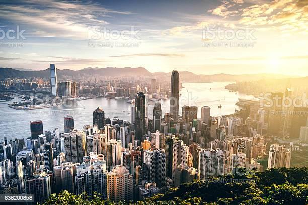 Photo of Hong Kong skyline at sunrise