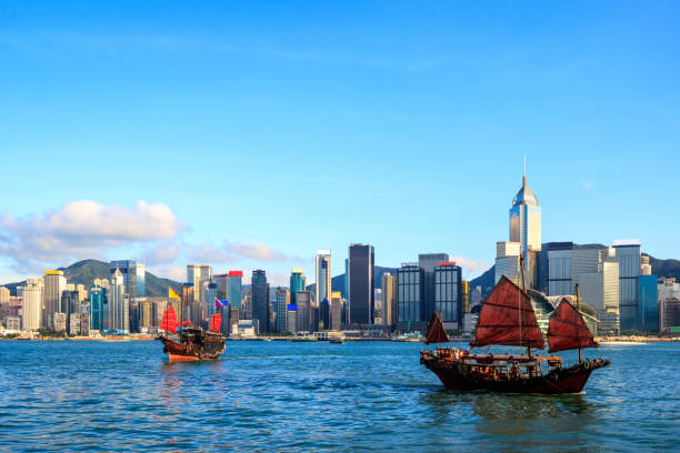 Hong Kong skyline cityscape, Tourist junk boat at Victoria Harbor in evening stock photo