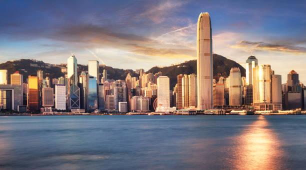 Hong Kong Skyline von kowloon, Panorama bei Sonnenaufgang, China - Asien – Foto