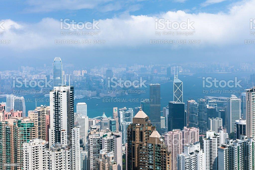 Hong Kong skyline from Victoria Peak stock photo