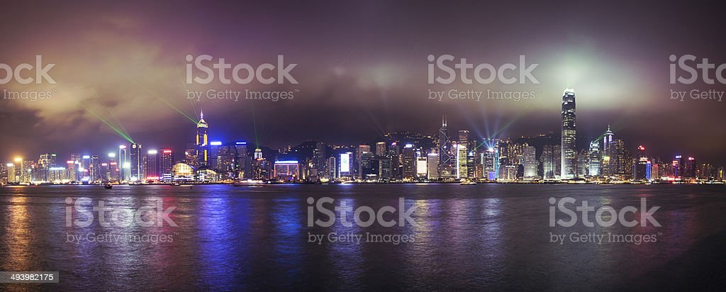 Hong Kong Skyline Symphony of Lights Panorama stock photo
