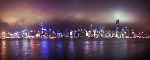 Hong Kong Skyline Symphony of Lights Panorama stock photo