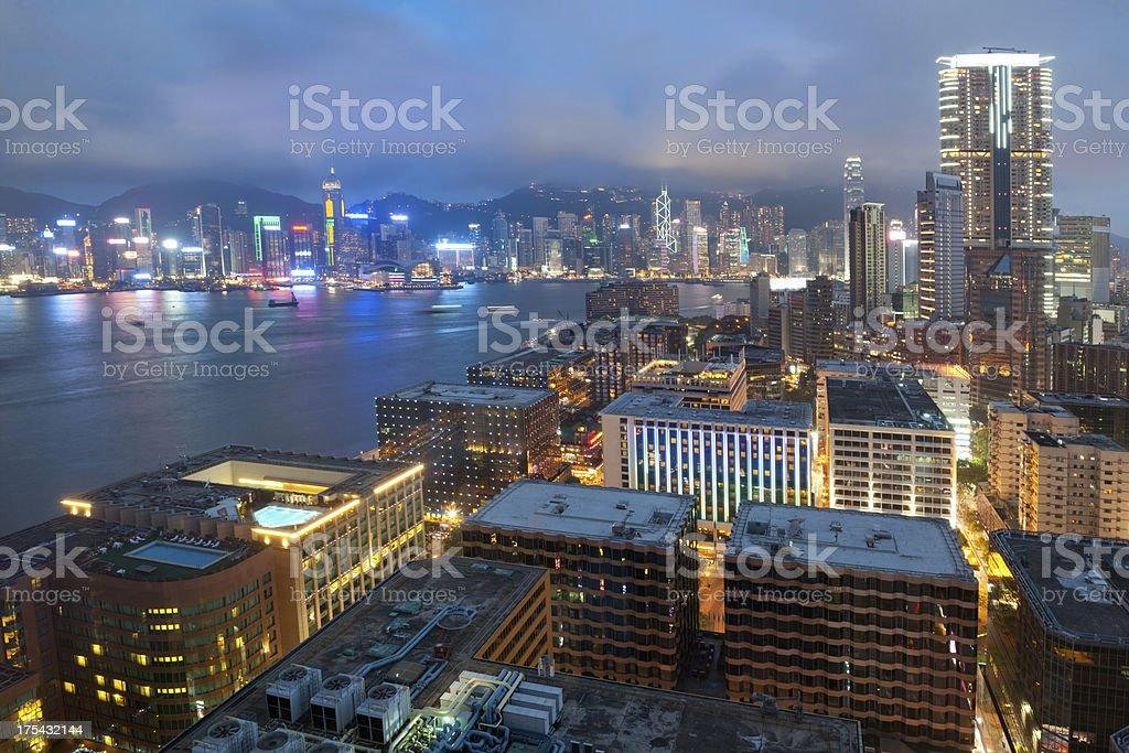Hong Kong Skyline view from Kowloon at Night (XXXL) royalty-free stock photo