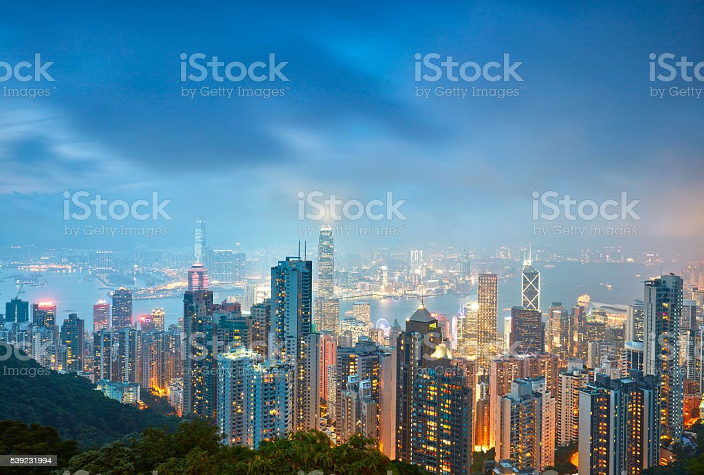 Hong Kong skyline. View from Victoria Peak. royalty-free stock photo