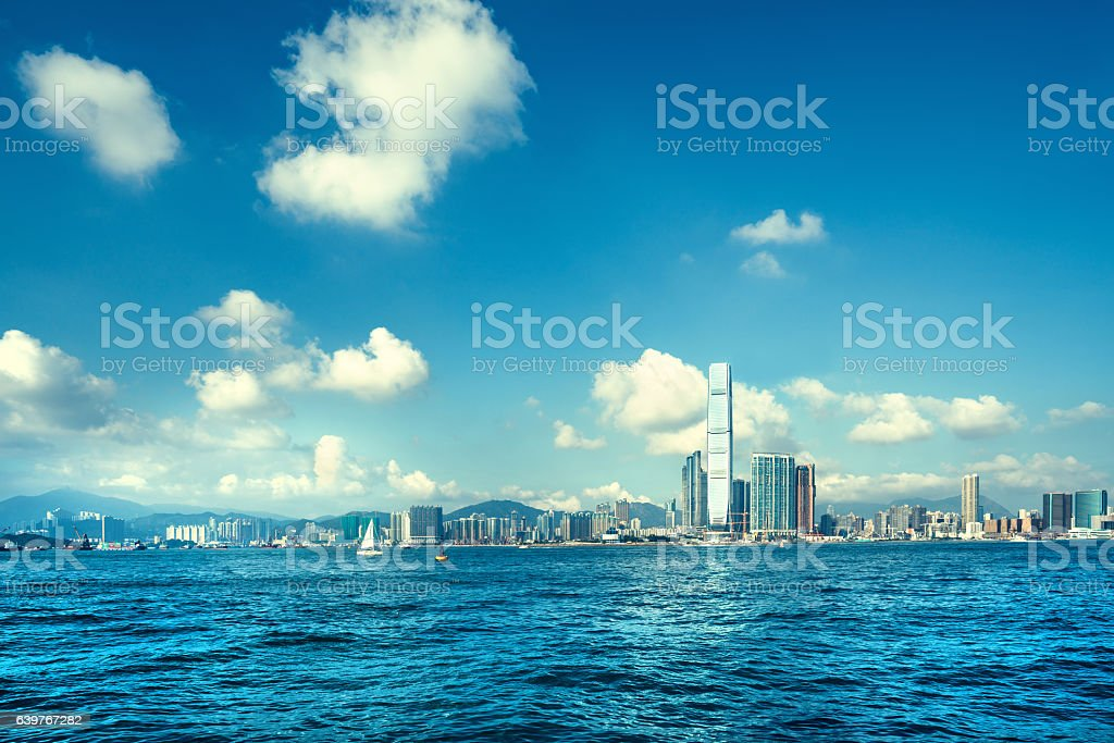 Hong Kong skyline, view to ICC stock photo