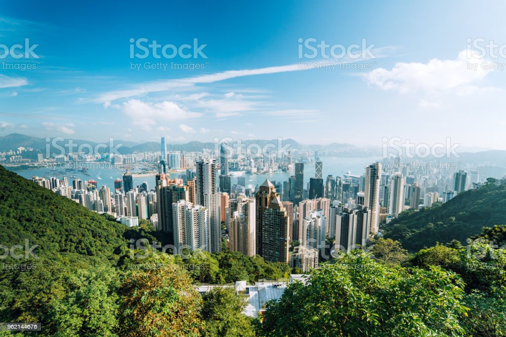 Hong Kong Skyline with clouds stock photo