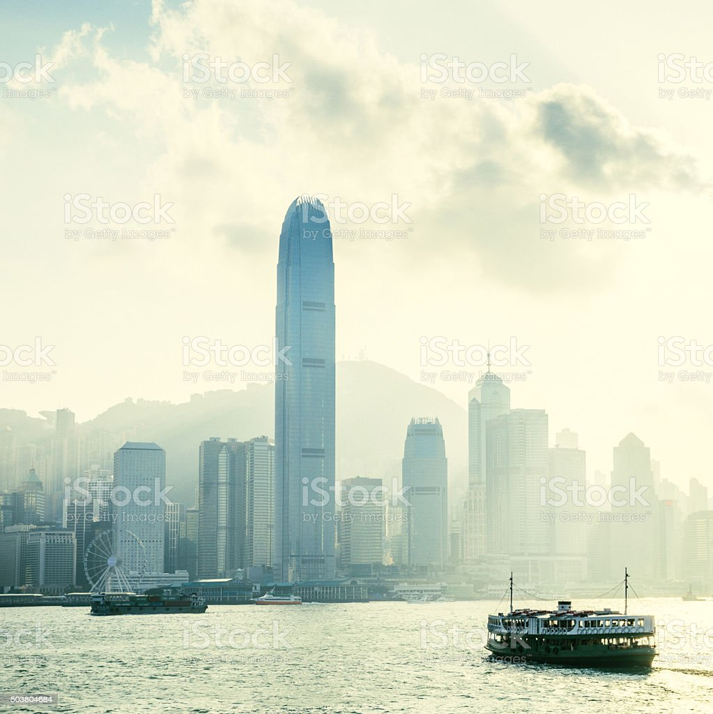 Hong Kong Skyline with ferry stock photo