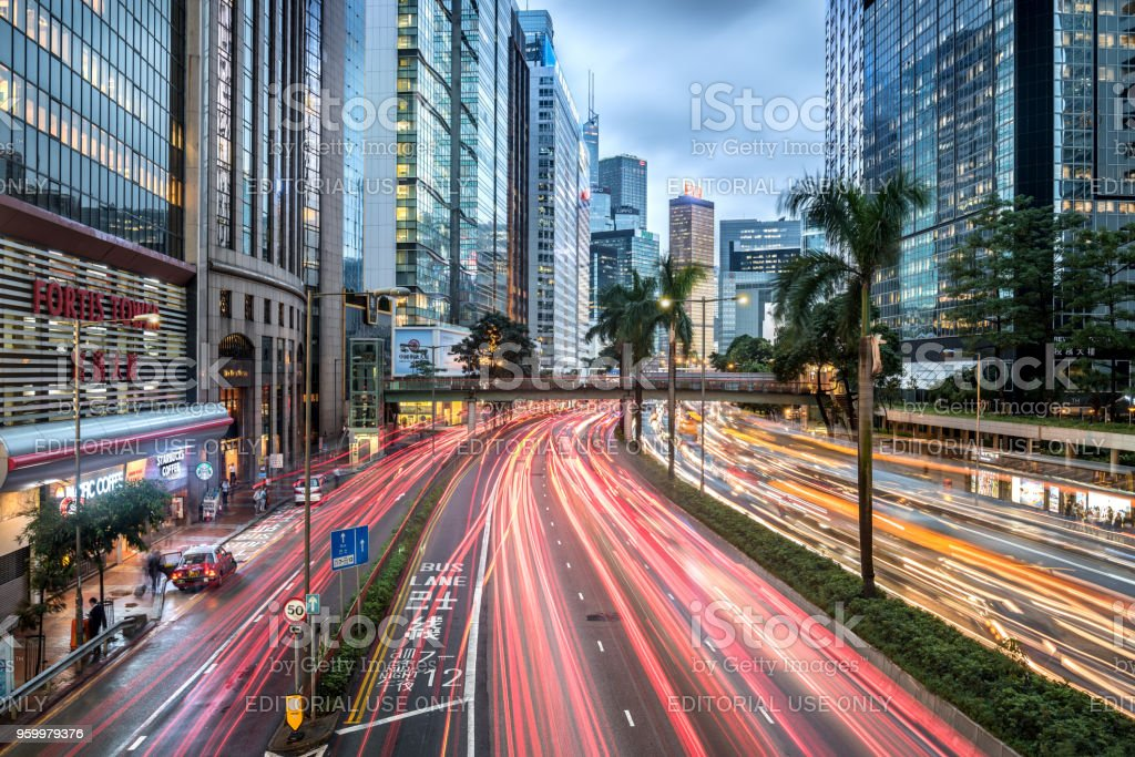 Hong Kong skyline with traffic and skyscrapers of the central district stock photo
