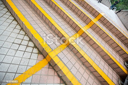 Hong Kong stairs, yellow lines dividing lanes in stairs