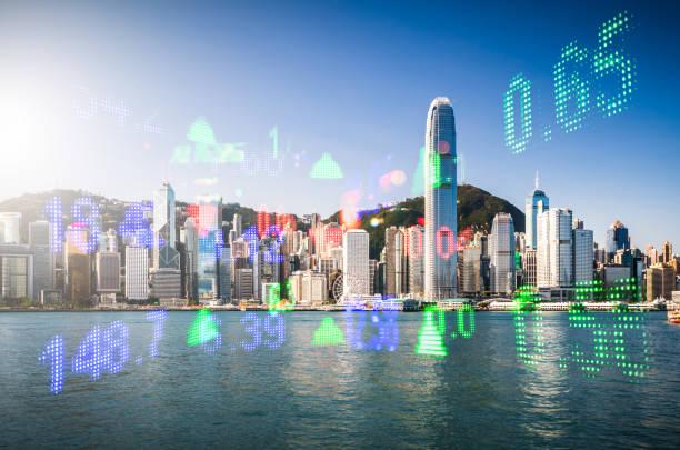hong kong stock market - hang seng index stock-fotos und bilder