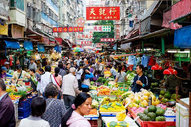hong kong street market - asia orientale foto e immagini stock