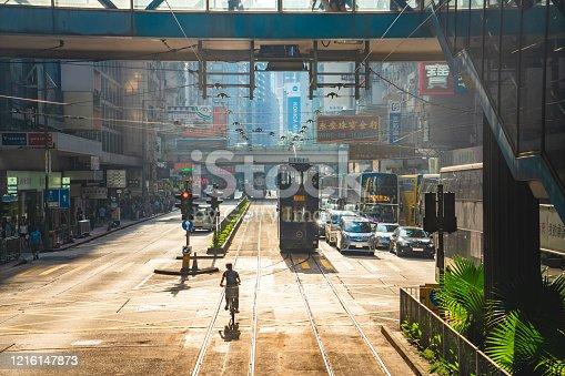 Hong Kong street scene in Wan Chai tramway path