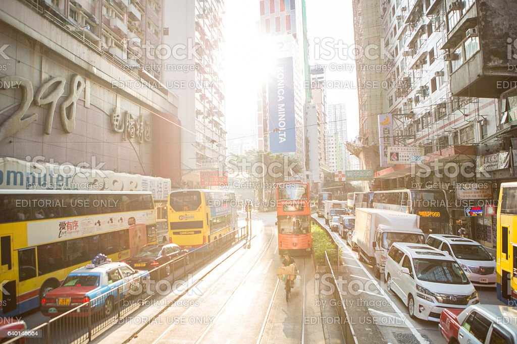 Hong Kong streets and traffic stock photo