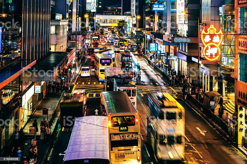 Hong Kong streets by night. stock photo