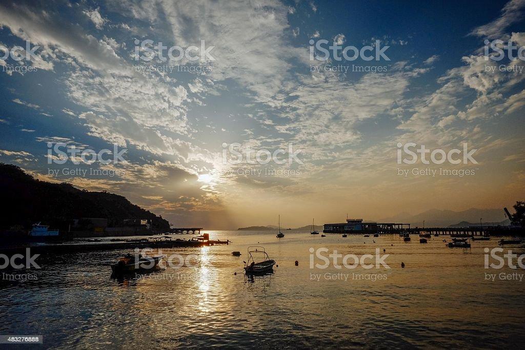 Hong Kong Sunset from Lamma Island. stock photo