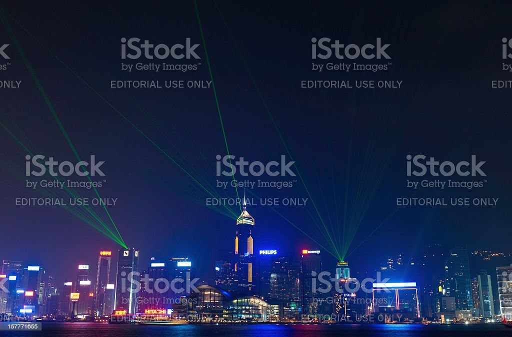 Hong Kong Symphony of Lights night neon laser show royalty-free stock photo