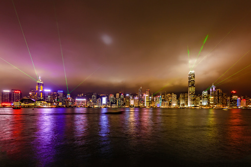 Symphony of Lights (World's Largest Permanent Light and Sound Show) at Hong Kong financial district, Victoria Harbour, Hong Kong Island.